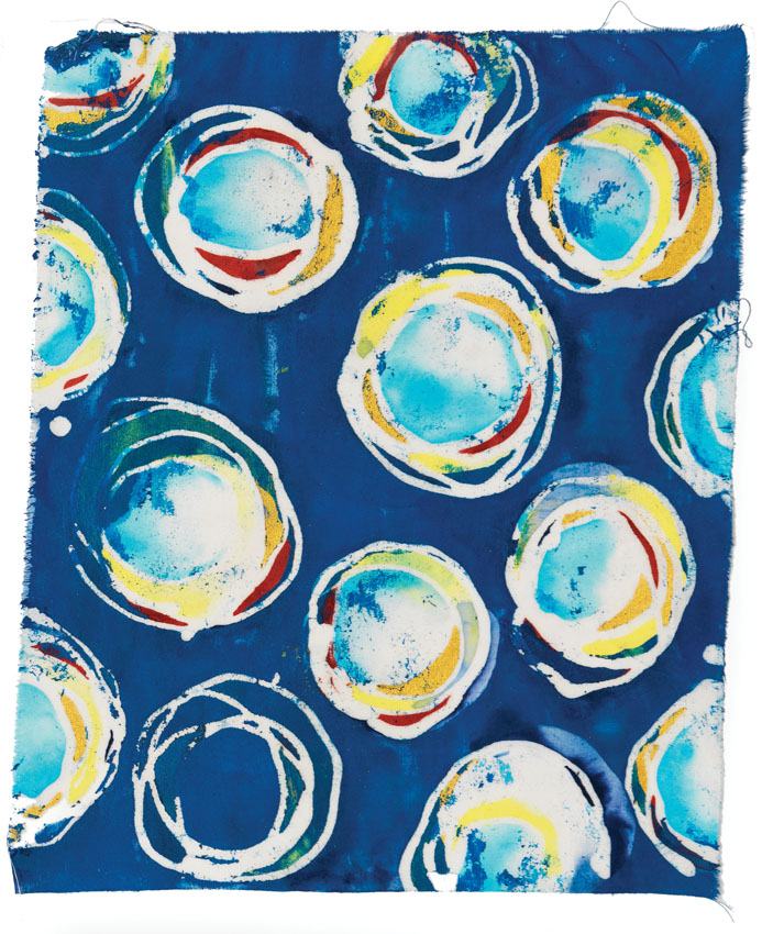 Soy Wax Batik with paint on cotton, Melanie Testa