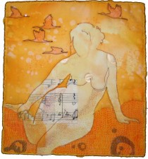 Repose in Yellow, fiber art by Melanie Testa