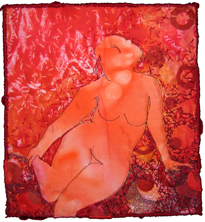 Repose in Red, fiber art by Melanie Testa