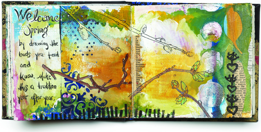 A Journal Spread by Melanie Testa, willow buds and all